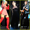 Bebe Rexha Brings The Sparkle to Poptopia 2018! Bebe Rexha performs on stage in a red, sparkly outfit...