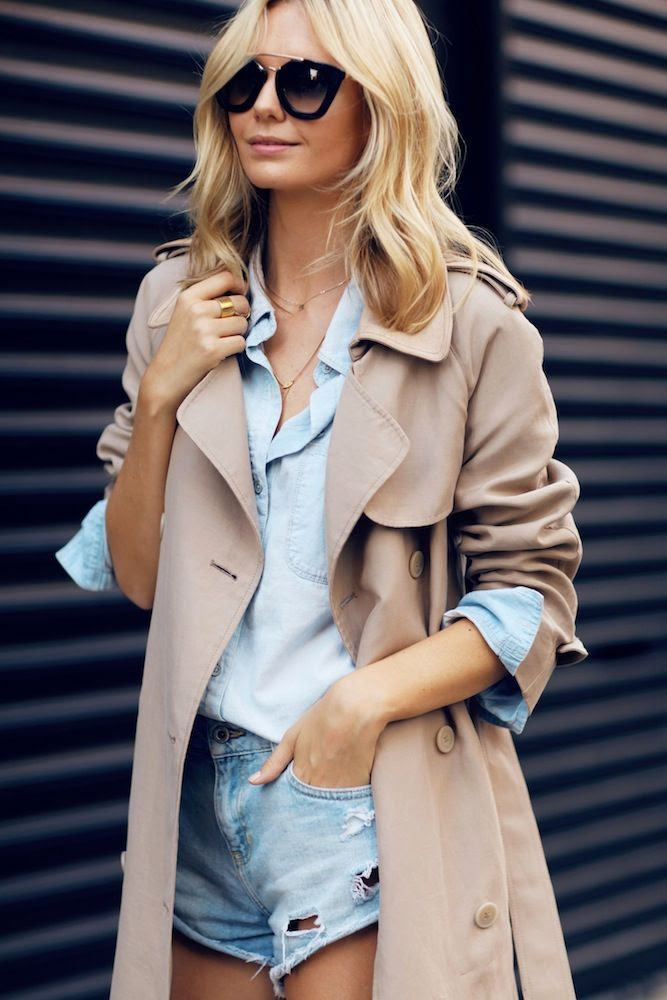 Le Fashion Blog -- Prada Bridge Sunglasses, Trench Coat, Chambray Shirt & Cut-Off Denim Shorts-- Via Australian Blogger Jess Stein Of Tuula Vintage -- photo Le-Fashion-Blog-Trench-Coat-Chambray-Shirt-Cut-Off-Denim-Shorts-Via-Jess-Stein-Tuula-Vintage.jpg