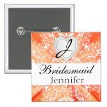 Monogram Bridal Party Orange Satin Design 2 Inch Square Button