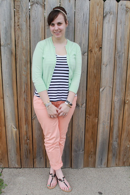 Peacy mint outfit: Peach Gap khakis, striped Gap tank, mint green J. Crew cardigan, pearl and coral sandals