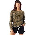 Alternative Lazy Day Printed Burnout French Terry Pullover Sweatshirt XL Camouflage Green , Alternative Apparel