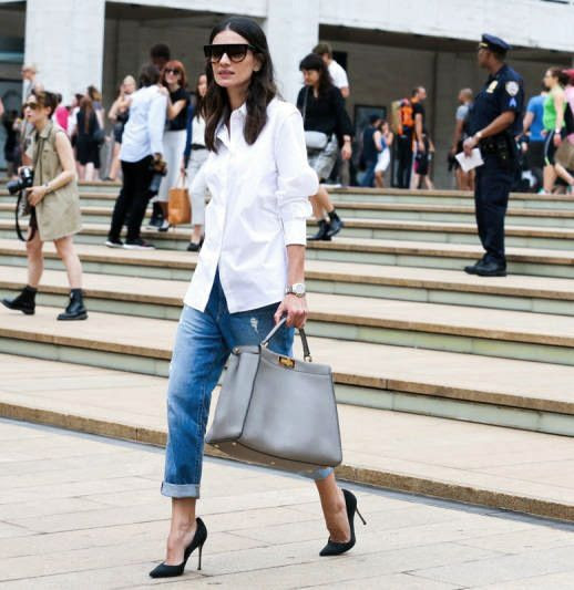 Le Fashion Blog -- NYFW Street Style: Leila Yavari in Celine Sunglasses, A White Button Down Shirt, Grey Fendi Peekaboo Bag, Boyfriend Jeans And Heels -- Via Elle -- photo Le-Fashion-Blog-NYFW-Street-Style-Leila-Yavari-Simple-Classics-Celine-Sunglasses-White-Button-Down-Fendi-Peekaboo-Bag-Via-Elle.jpg