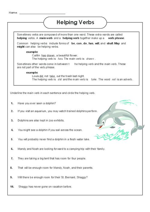 helping verbs worksheet 3