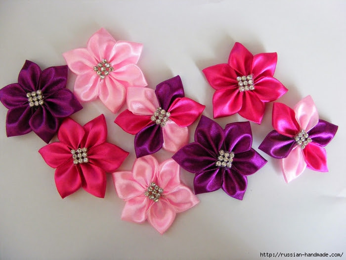 Headband hair with flowers of satin ribbons.  Master class (21) (700x525, 249Kb)
