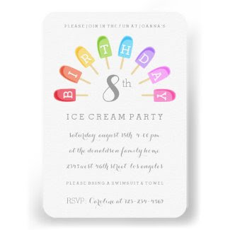 Ice Cream Popsicle Birthday Party Invitation Invites