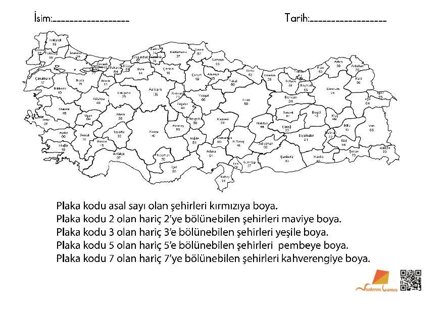 Bölünebilme Türkiye Haritası Boyama Matematik Eğlencelidir