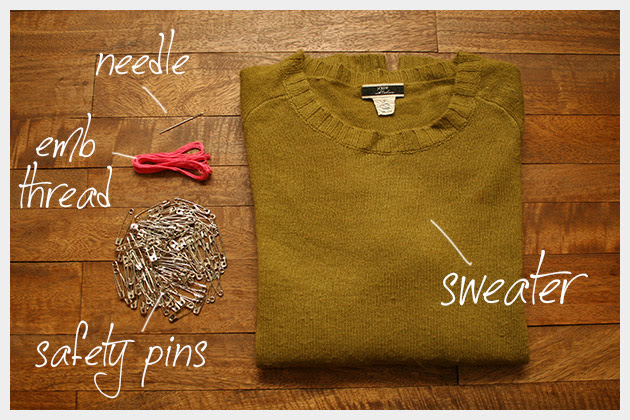 Safety Pin Heart Sweater DIY Supplies