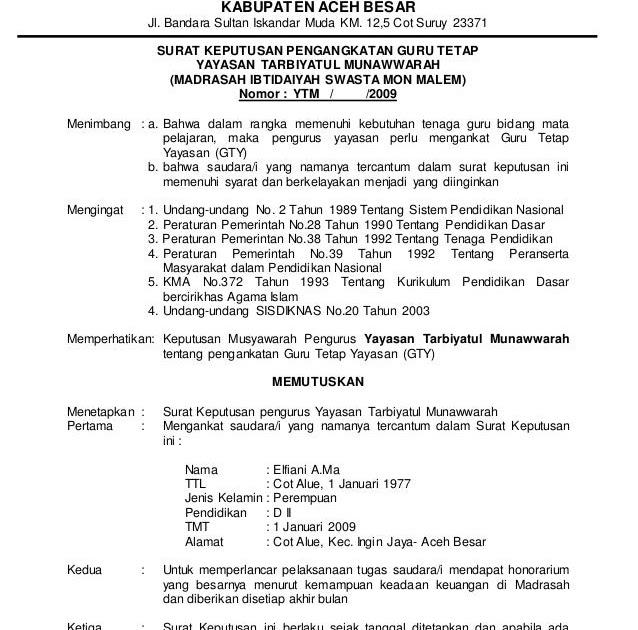 Contoh Surat Keputusan Pemberhentian Dosen Tetap Yayasan Contoh Surat