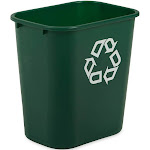 Rubbermaid FG295606GRN Commercial Desk Recycle Container - Green - Plastic