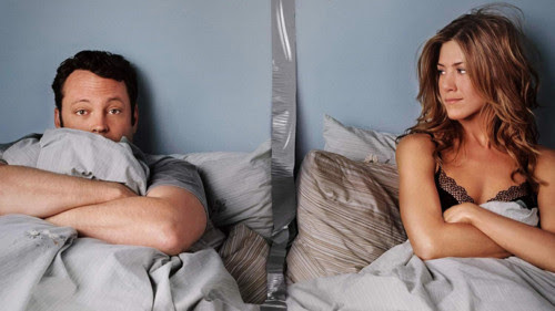 My Sex Life in Movie Titles - The movie poster for The Break-Up just about sums up this post with Jennifer Aniston in bed with Vince Vaughn