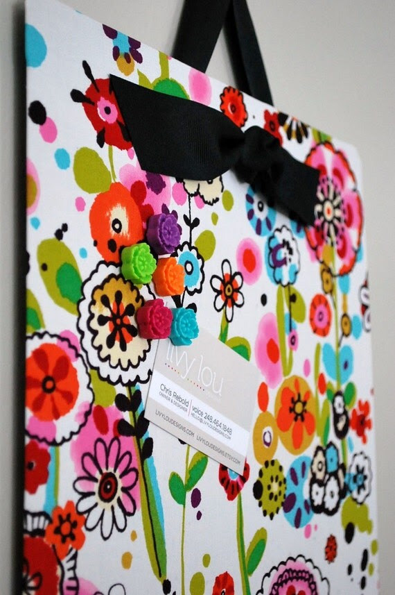 "Fabric Covered Magnet Board (12"" x 24"") Fun Flowers"