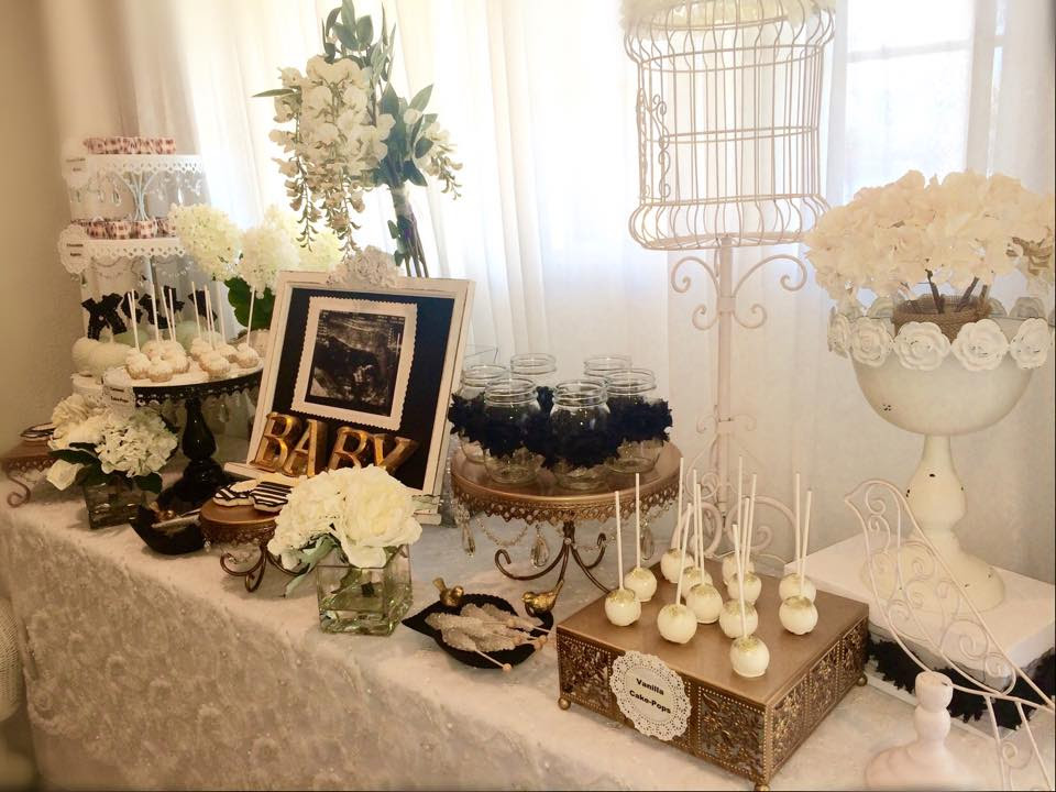 Black And White Shabby Chic Baby Shower Dessert Table Baby Shower
