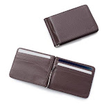 2 Pack Zodaca Mens Stylish Thin Leather Wallet Bifold Slim ID Credit Card Holder with Removable Money Clip - Brown