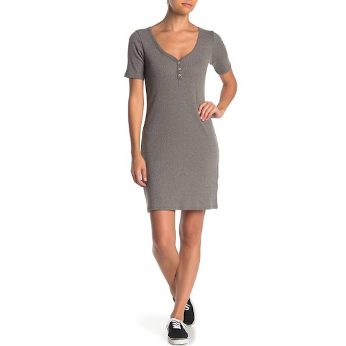 Alternative V-Neck Ribbed Knit Henley Dress