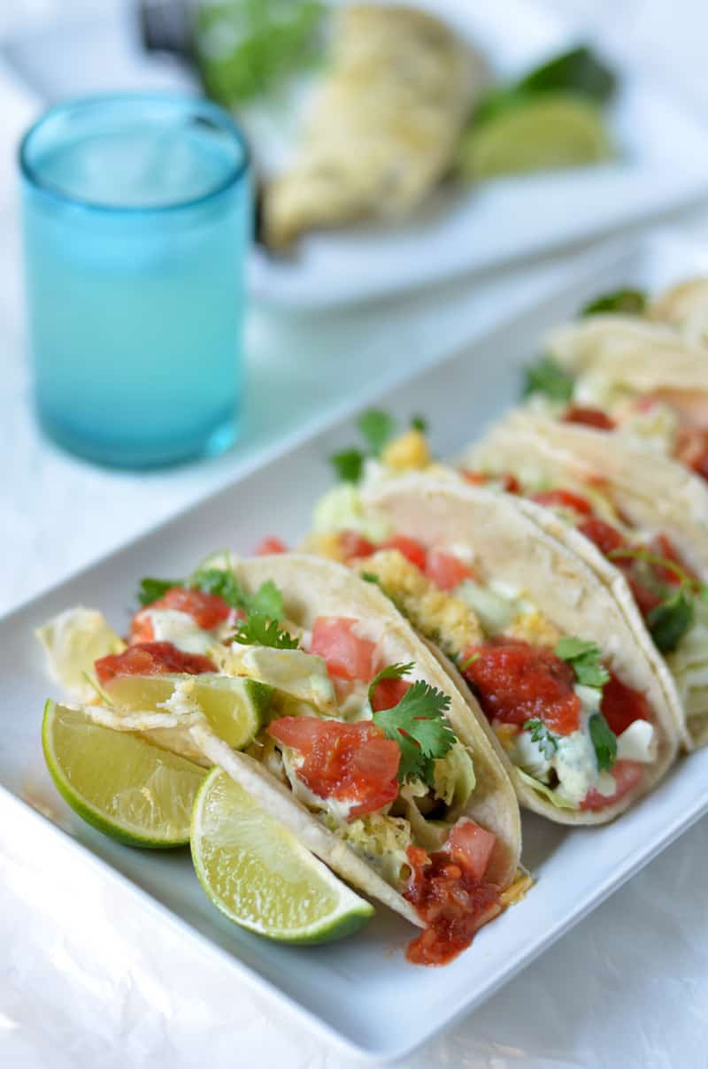 Tinfoil grilled fish tacos with creamy cilantro dressing