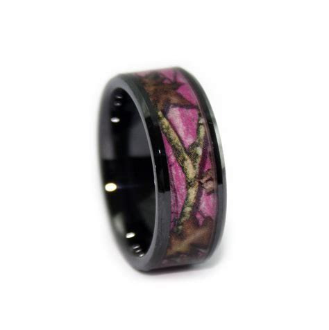 Pink Camo Wedding Rings   Black Ceramic Band by #1 CAMO