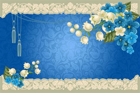 Paisley Floral Azul Fronteira Background Decoração Floral