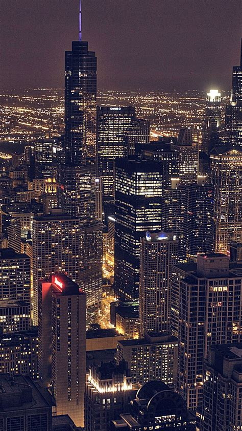 chicago city aertial view night iphone   hd wallpaper