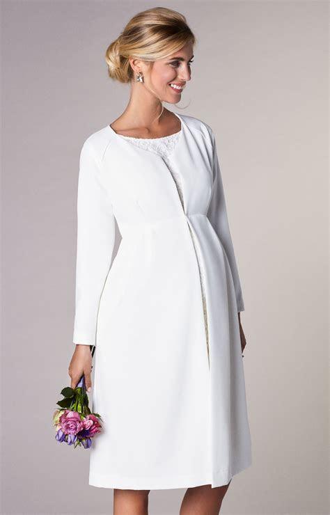 Christie Maternity Wedding Dress Coat Ivory   Maternity