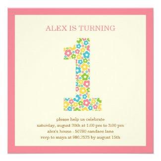 Flower Power First Birthday Invitation - Pink Invites