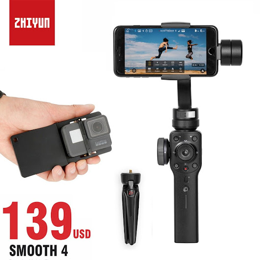 Zhiyun Smooth 4 Smartphone Gimbal Stabilizer for iPhone X Samsung, 3 Axis Gopro Gimbal zhi yun for Gopro 5 6 4 Action Cameras - DynaGrace Enterprises