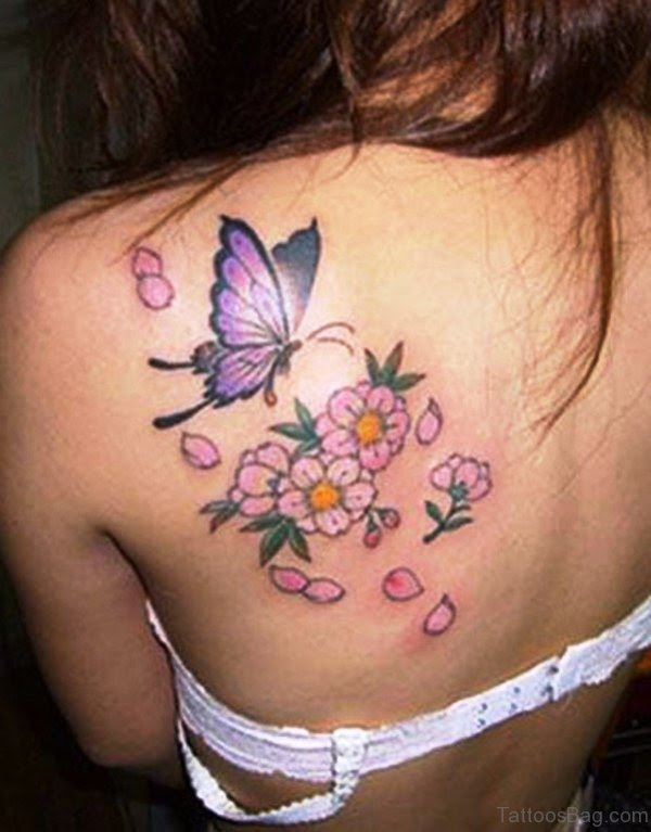 55 Superb Cherry Blossom Tattoos On Shoulder