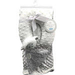 Petite L'Amour Soft Plush Blanket with Travel Pillow - White/Grey