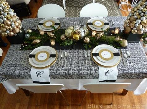 Festive Gold And Black Christmas Tablescape  B. Lovely Events