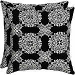 Better Homes & Gardens 16 x 16 in. Outdoor Toss Pillow Tulip Medallion - Set of 2, Size: Medium, Black