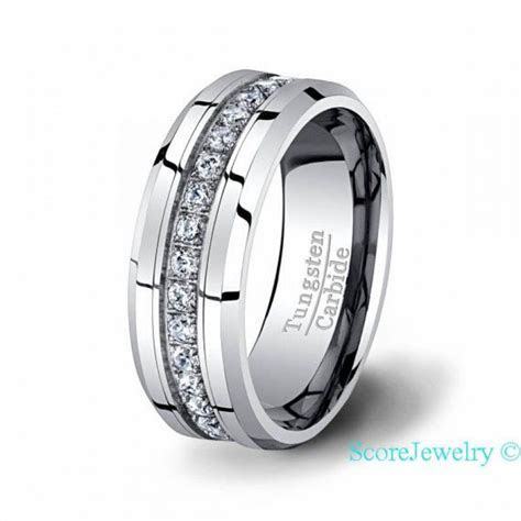 Tungsten Carbide Ring Stacked Fully With Brilliant AAA