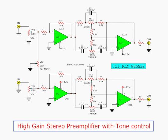 Circuit Diagram Of Ic Ka 4558 As A Line Amp In Audio Amp ...