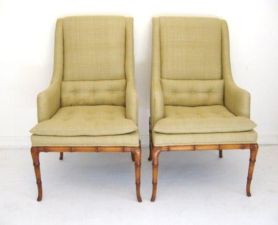 Pair ROBSJOHN GIBBINGS Mid Century MODERN Faux Bamboo High Back Lounge Chairs