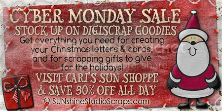 CYBER MONDAY SALE - 50% off everything in Cari's SUN Shoppe all day! Discount will be shown in your cart