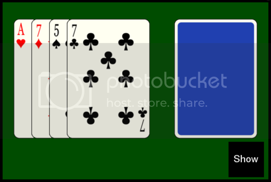 Fitch Cheney puzzle Ace of Hearts 7 of Diamonds 5 of Spades 7 of Clubs