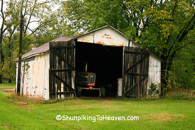 Old Machine Shed with IH Tractor, Pepin County, Wisconsin
