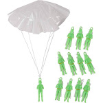 Mini Parachute Army Men - 12-Pack Glow in the Dark Paratrooper with Parachute Toy Set, Airborne Light-Up Action Figure for Kids, Gifts, Military