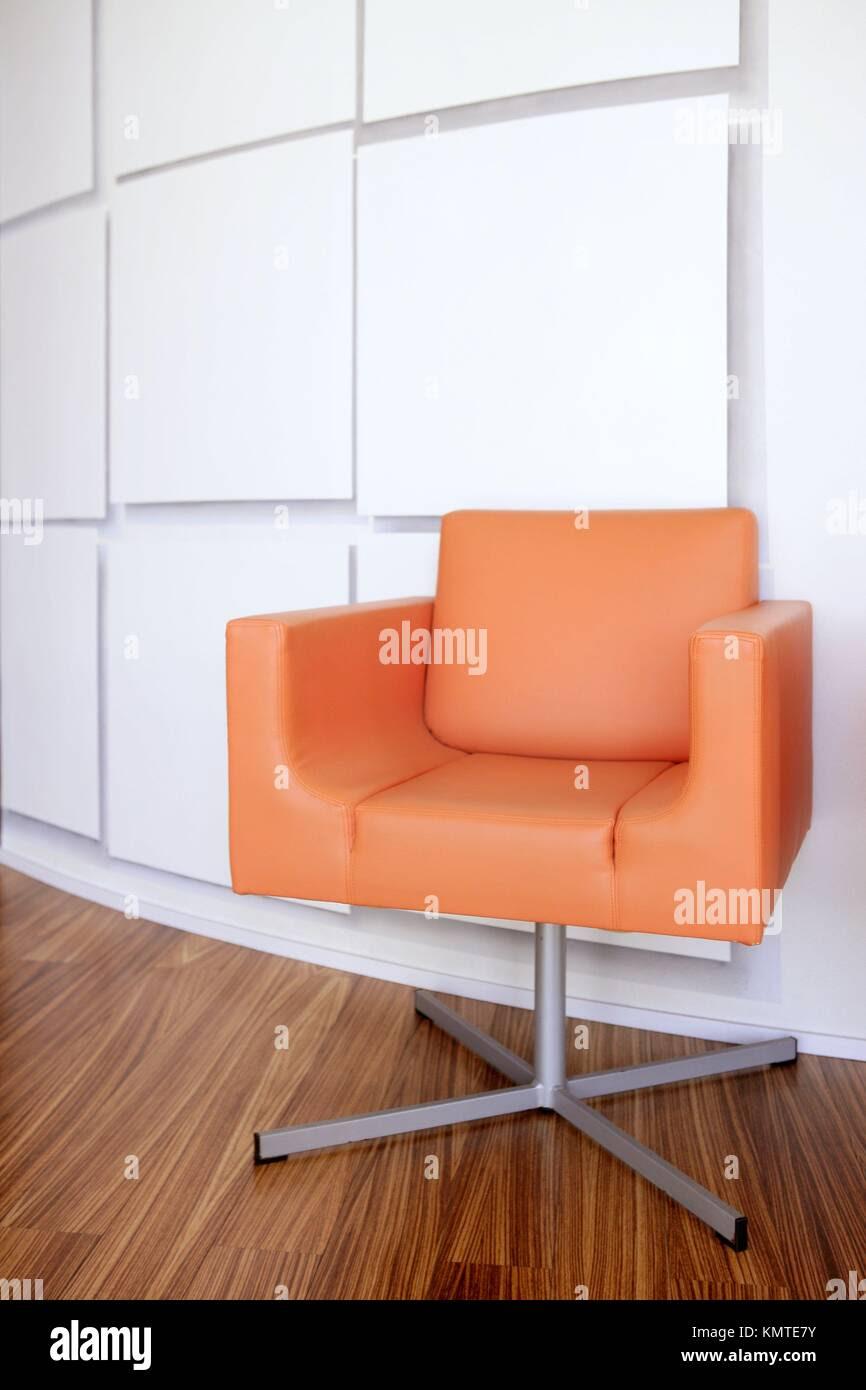Modern Office Lobby Interior Design Orange Leather Chair Wooden