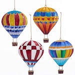 Kurt Adler Festive Hot Air Balloons Holiday Ornaments Set of 4 Painted Tin