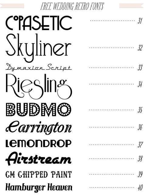 Free 40 fonts for DIY Wedding Invitations from dafont.com