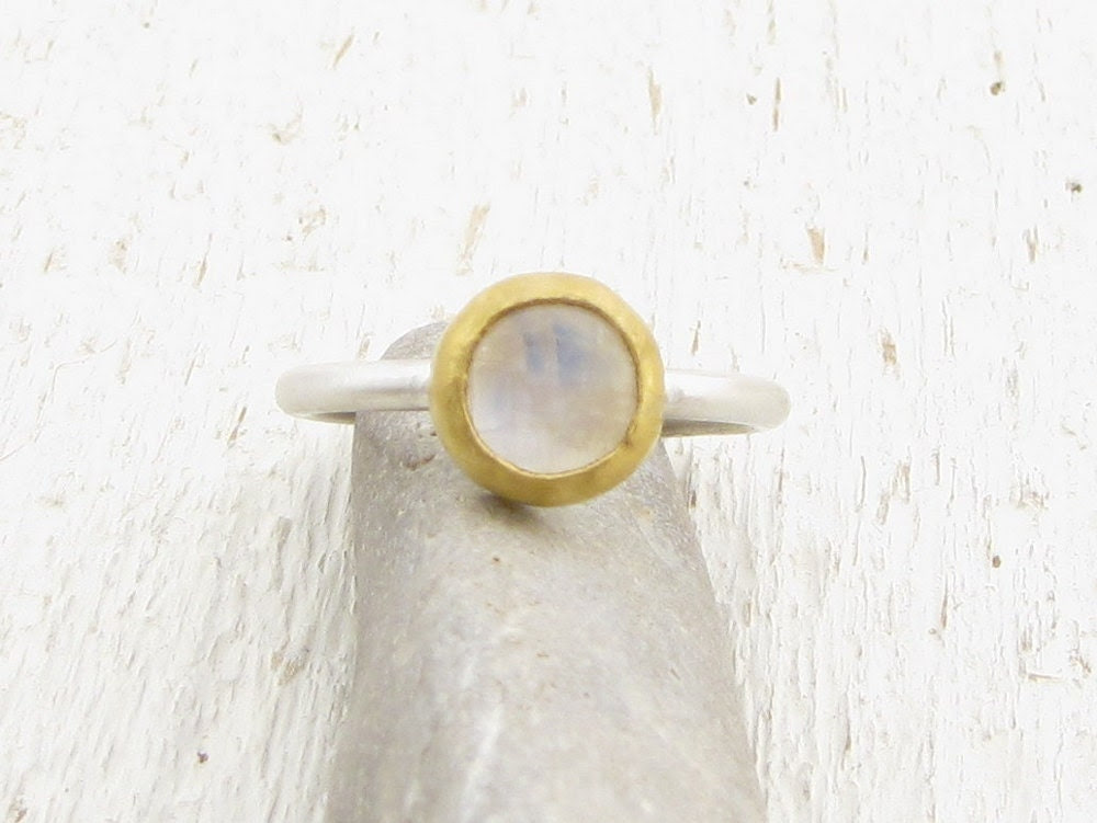 White Moonstone Ring - 24k Solid Gold & Silver Ring -  Moonstone Stacking Ring -  Gemstone Ring - Engagement Ring - Omiya