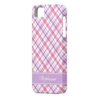 Pink and Purple Plaid Pattern iPhone 5 Cases