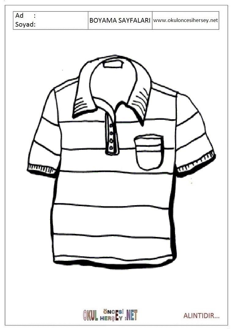 Tişört Boyama Sayfaları