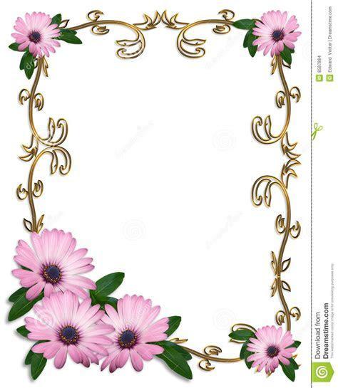 Daisy Border Wedding Invitation Template Stock