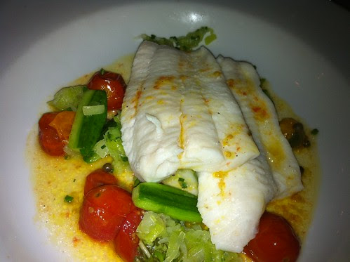 Petrale Sole with Roasted Cherry Tomatoes, Cucumbers, and Green Peppercorn Sauce