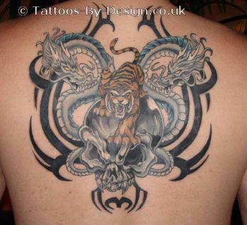 Dragons Skull And Tiger Tattoo
