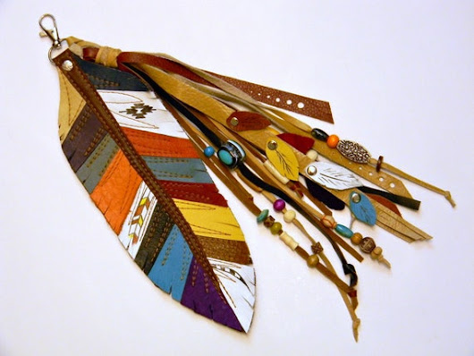 Leather Feather Keychain Southwestern Style Multicolor Genuine