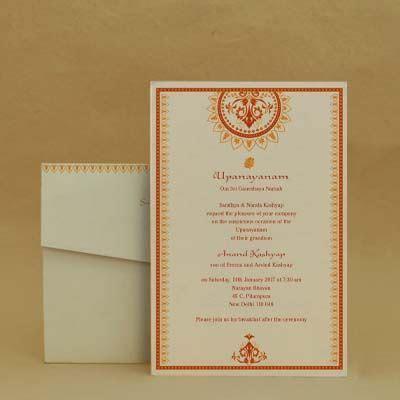 Betel Blocks: Red Thread Ceremony Invitation Cards PAPER #