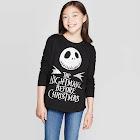 Disney Girls' The Nightmare Before Christmas Jack Skellington Long Sleeve T-Shirt - Black