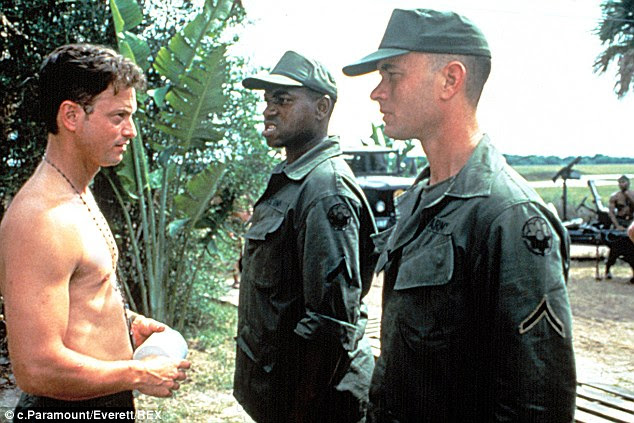 In the military: Forrest served in Vietnam in the US Army, having enlisted rather than being drafted. He served under Lt Dan, the platoon leader who he saves (played by Gary Sinise, left) but who would rather have died