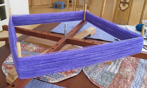 Purple yarn on swift